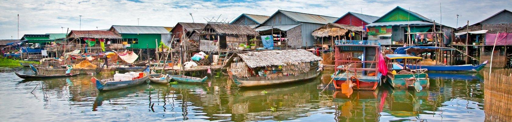Drijvende huizen in Battambang