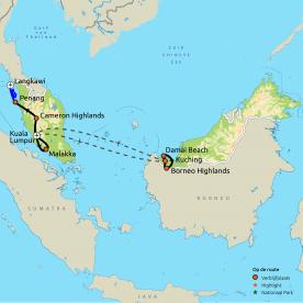 Routekaart Maleisië & Borneo
