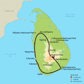 Routekaartje GRO Beste van Sri Lanka