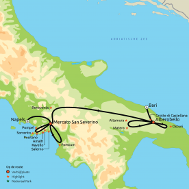 Via Puglia naar de Amalfikust & Pompei